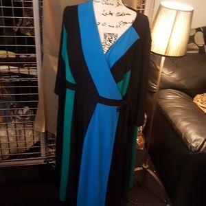 Catherines 3x multicolor wrap dress nwot